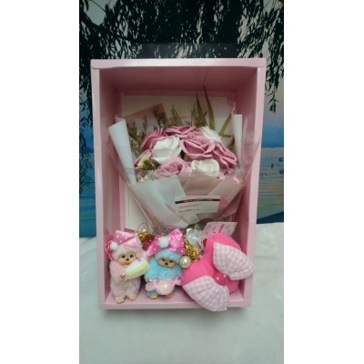 Sweet Monchhichi Mascot Candy & Cake 255730 + Soap Flower Rose Gift Box Set