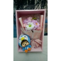 Big Head Monchhichi Chamekko Penguin ICE 220550 + Soap Flower Rose Gift Box Set