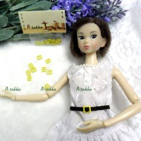 NDA021YEW Doll Dress DIY Crafts Mini Metal Buckle Yellow 10pcs