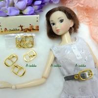 NDA034GLD Doll Dress Crafts 11mm x 18mm Metal Buckle Gold 3pcs
