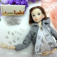 NDA036SLR Doll Dress DIY Crafts Mini Hook & Eye Closing Silver