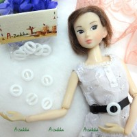 NDA048WHE Doll Dress Crafts 11mm Round Plastic Buckle White 5pcs