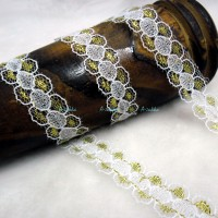 NDA101GLD DIY Crafts 12mm Nylon Lace Trim Flower GOLD (2M)