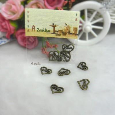 Bjd Necklace Pendant Mini Love Heart Antique Brass 5pc NDA130SLR