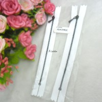 12cm White Close End Zipper Black Metal Handle 2pcs NDA134BLK