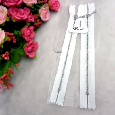 12cm White Close End Zipper Silver Metal Handle 2pcs NDA134SLR