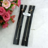 12cm Black Close End Zipper Gold Metal Handle 2pcs NDA135GLD