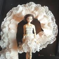NDA205BGE 1/6 Bjd Dress 3 Layer Chiffon Lace Trim Tape 8cm Beige