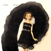 NDA205BLK 1/6 Bjd Dress 3 Layer Chiffon Lace Trim Tape 8cm Black