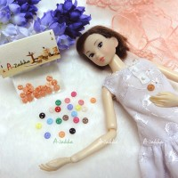 NDB002RAE Doll Dress DIY Craft Tiny Button Circular 5mm S Orange