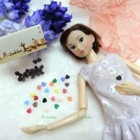 NDB003BLK Doll Dress DIY Crafts Tool Tiny Button Heart 4mm Black
