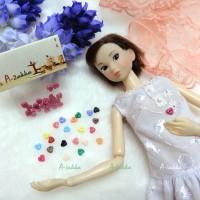 NDB003LPN Doll Dress DIY Crafts Tiny Button Heart 4mm Light Pink