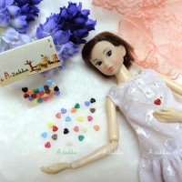 NDB003MIX Doll Dress DIY Crafts Tiny Button Heart 4mm Mix Color