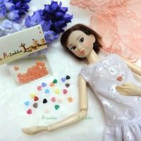 NDB003RAE Doll Dress DIY Craft Tiny Tool Button Heart 4mm Orange