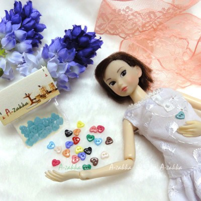 NDB004BLE Doll Dress DIY Crafts Tiny Button Heart 6.5mm Blue