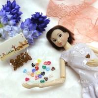 NDB004BRN Doll Dress DIY Crafts Tiny Button Heart 6.5mm Brown