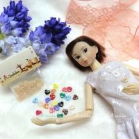 NDB004CRM Doll Dress DIY Crafts Tiny Button Heart 6.5mm Cream