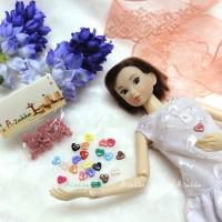 NDB004LPN Doll Dress DIY Crafts Tiny Button Heart 6.5mm Lt. Pink