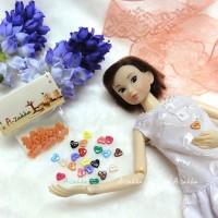 NDB004RAE Doll Dress DIY Crafts Tiny Button Heart 6.5mm Orange