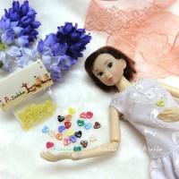 NDB004YEW Doll Dress DIY Crafts Tiny Button Heart 6.5mm Yellow