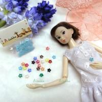 NDB005BLE Doll Dress Sewing Tiny Tools Button Star 6.5mm Blue