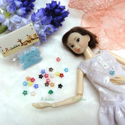 NDB005BLE Doll Dress Sewing Tiny Tools Button Star 6.5mm Blue
