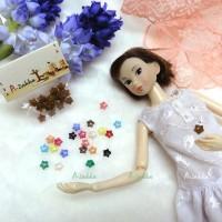 NDB005BRN Doll Dress DIY Sewing Tool Button Star 6.5mm Brown
