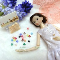 NDB005CRM Doll Dress Sewing Tiny Tool Button Star 6.5mm Cream