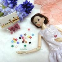 NDB005LPN Doll Dress Sewing Tiny Button Star 6.5mm Light Pink