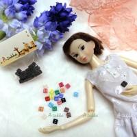 NDB006BLK Doll Dress DIY Sewing Tiny Button Square 5mm Black