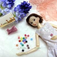 NDB006LPN Doll Dress DIY Sewing Tiny Button Square 5mm Lt Pink
