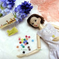NDB006YEW Doll Dress DIY Sewing Tiny Button Square 5mm Yellow
