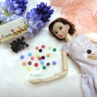 NDB007BLK Doll Dress Sewing Button Sakura Flower 6.5mm Black