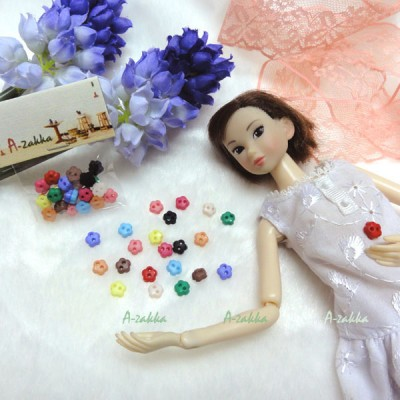 NDB007MIX Doll Dress Sewing Button Sakura Flower 6.5mm Mix Color
