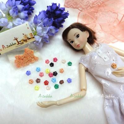 NDB007RAE Doll Dress Sewing Button Sakura Flower 6.5mm Orange