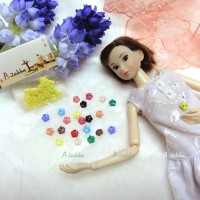 NDB007YEW Doll Dress Sewing Button Sakura Flower 6.5mm Yellow