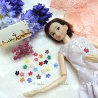 NDB008LPN Doll Dress DIY Sewing Button Flower 6.5mm Light Pink