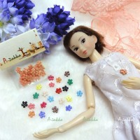 NDB008RAE Doll Dress DIY Sewing Tiny Button Flower 6.5mm Orange