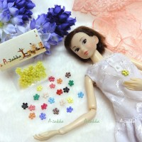 NDB008YEW Doll Dress DIY Sewing Tiny Button Flower 6.5mm Yellow