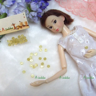 NDB009YEW Doll High Quality Button Round 4mm Pearl Yellow