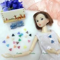 NDB010BLE Doll Dress Making DIY Tiny Button Triangle 6.5mm Blue