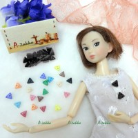 NDB010BLK Doll Dress Material Tiny Button Triangle 6.5mm Black