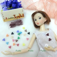 NDB010BRN Doll Dress Material Tiny Button Triangle 6.5mm Brown