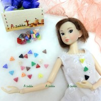 NDB010MIX Doll Dress Making Tiny Button Triangle 6.5mm Mix Color