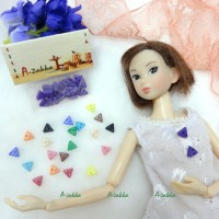NDB010PUE Doll Dress Material Tiny Button Triangle 6.5mm Purple