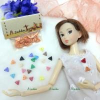 NDB010RAE Doll Dress Making Tiny Button Triangle 6.5mm Orange