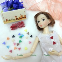 NDB010RED Doll Dress DIY Material Tiny Button Triangle 6.5mm Red