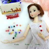 NDB013RED Doll Dress DIY Crafts Tiny Mushroom Button 5mm Red