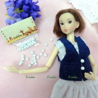 NDB013WHE Doll Dress DIY Crafts Tiny Mushroom Button 5mm White