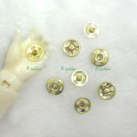 NDB030GLD 5mm Brass Tin Plated Round Snap Button Gold (12 Sets)